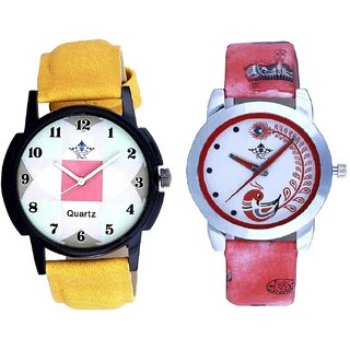 Attractive Square Design And Red Leather Strap Analogue Watch By Taj Avenue
