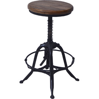 Mani Creations Multicolor Iron + Wooden Spring Stool / 42x42x45