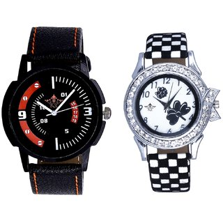 Red-Black Dial And Black-White Strap Girls Analogue Watch By Ganesha Exim