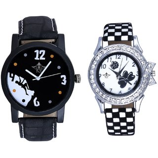 Men Mount Themes And Black-White Strap Girls Analogue Watch By Ganesha Exim