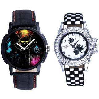 Bhoot Colouring Dial And Black-White Strap Girls Analogue Watch By Ganesha Exim