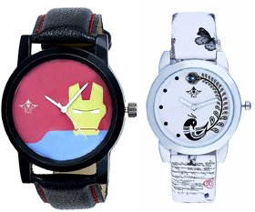 Tony Stark Face And White Leather Strap Analogue Watch