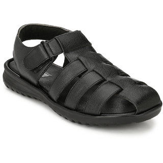 White Walkers Men's Black Synthetic Leather Sandals