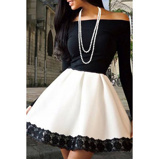 cc4aea9ef7d Buy Black White Off shoulder Party dress Online   ₹2199 from ShopClues