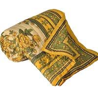 Shoppingtara Green Floral Print Pure Cotton Double Bed Quilt Jaipuri Cotton Quilt