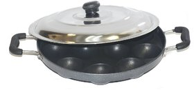 Heavy Weight Non-Stick 12 Cavity Appam Patra Side Handle with lid, Black (Appam06)