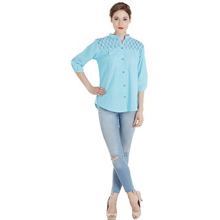 100% Cotton Chambray Chinese Coller Sky Blue Shirt For Women