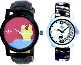 Tony Stark Face And Black Leather Strap Analogue Watch