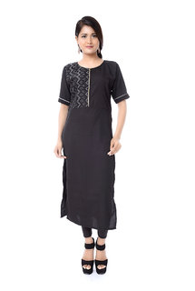 Trenditional Ikat/Sambalpuri Round Neck 3/4th Sleeve Crape& Cutton Black Kurti For Women'S