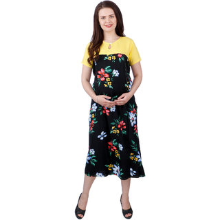 MomToBe Women's Rayon Yellow & Black Maternity Dress