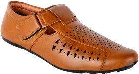 Aadi Men's Tan Velcro Casual Sandal