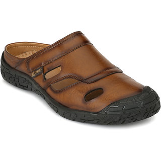 El Paso Men's Tan Synthetic Leather Mule Casual Sandals