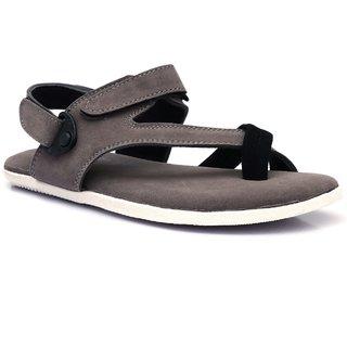 Shoegaro Men's Grey Synthetic Leather Casual Sandal
