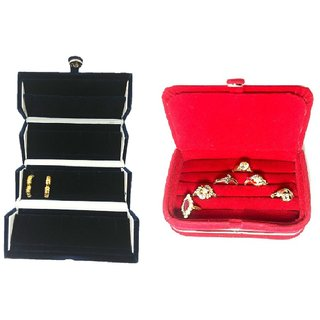 ADWITIYA Combo - Blue Earrings Studs Tops Folder and Red Ring Case Jewelry Organizer Travel Friendly Paperboard Gift Box