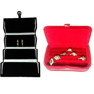 ADWITIYA Combo -Black Earrings Studs Tops Folder and Red Ring Case Jewelry Organizer Travel Friendly Paperboard Gift Box