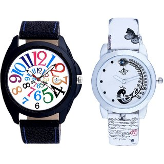 White Dial Black Strap And White Peacock Feathers Girls Analogue Watch By SCK