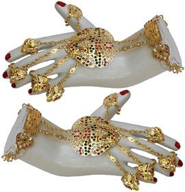 Lucky Jewellery Elegant Magenta Green Color Gold Plated Stone Hand Bracelet Bridal Hathphool For Girls & Women