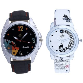 Mount Themes Goal Achived Art And White Peacock Feathers Girls Analogue Watch By SCK
