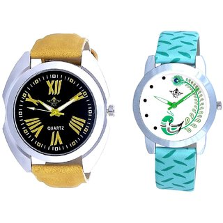 Yellow Digit Black Dial And Green Peacock Feathers Girls Analogue Watch By SCK