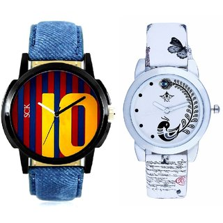 Colour 10 Art And White Peacock Feathers Girls Analogue Watch By SCK