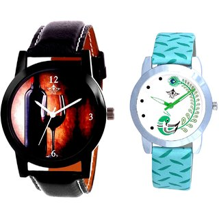 Royal Wine Glass And Green Peacock Feathers Girls Analogue Watch By SCK