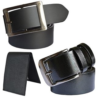 Sunshopping mens black leatherite needle pin point buckle belt with black leatherite bifold wallet (Pack of three)