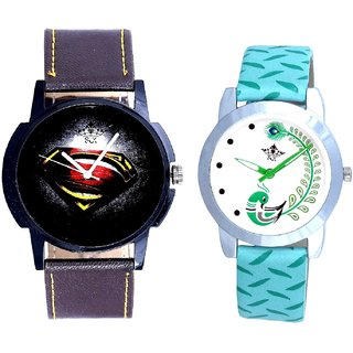 Super Men And Green Peacock Feathers Girls Analogue Watch By SCK