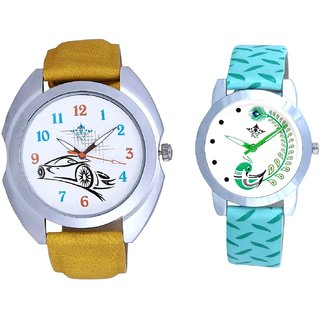 Ford Car And Green Peacock Feathers Girls Analogue Watch By SCK