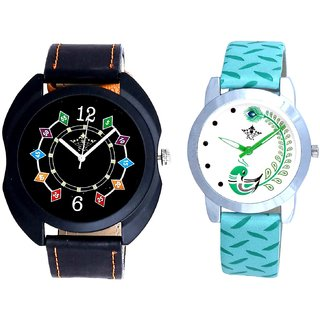 Black Dial Coloring Chain And Green Peacock Feathers Girls Analogue Watch By SCK