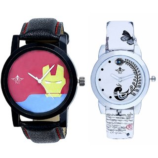 Ironman Mask Dial And White Peacock Feathers Girls Analogue Watch By SCK