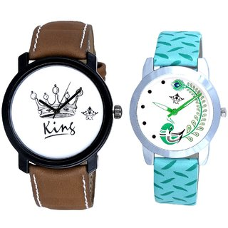 King And Green Peacock Feathers Girls Analogue Watch By SCK