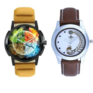 4 colour Art And Brown Peacock Feathers Girls Analogue Watch By SCK