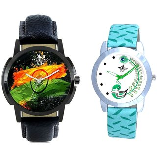 Luxury Black Leather Strap And Green Peacock Feathers Girls Analogue Watch By SCK