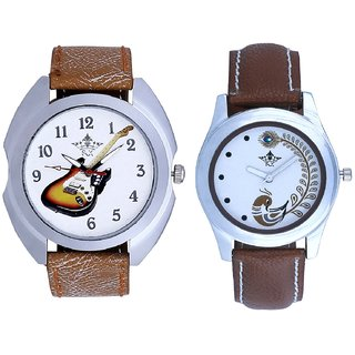 Music Guitar Art And Brown Peacock Feathers Girls Analogue Watch By SCK