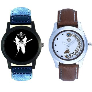 Gentlemen Tie And Brown Peacock Feathers Girls Analogue Watch By SCK
