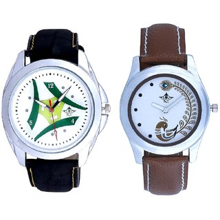 White Dial Latest Tri And Brown Peacock Feathers Girls Analogue Watch By SCK