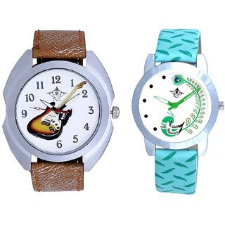 Music Guitar Art And Green Peacock Feathers Girls Analogue Watch By SCK