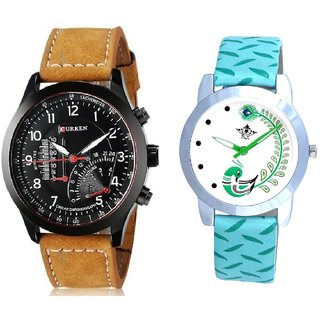 Curren Meter And Green Peacock Feathers Girls Analogue Watch By SCK