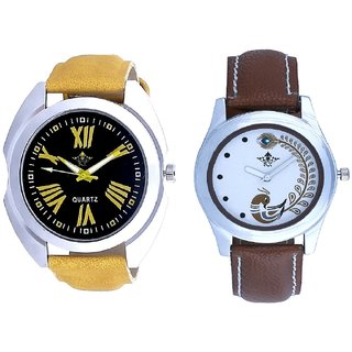 Yellow Digit Black Dial And Brown Peacock Feathers Girls Analogue Watch By SCK
