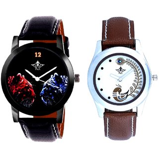 Red-Blue Jaguar And Brown Peacock Feathers Girls Analogue Watch By SCK