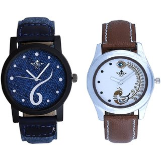Six Art And Brown Peacock Feathers Girls Analogue Watch By SCK