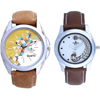 Brown Sports Belt And Brown Peacock Feathers Girls Analogue Watch By SCK