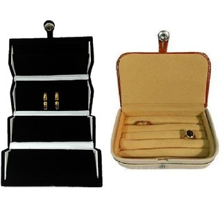 ADWITIYA Combo-Black Earrings Studs Tops Folder and Rust Ring Case Jewelry Organizer Travel Friendly Paperboard Gift Box