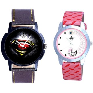 Super Men And Pink Peacock Feathers Girls Analogue Watch By SCK