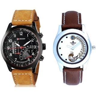 Curren Meter And Brown Peacock Feathers Girls Analogue Watch By SCK