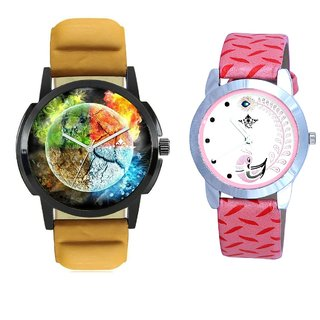 4 colour Art And Pink Peacock Feathers Girls Analogue Watch By SCK