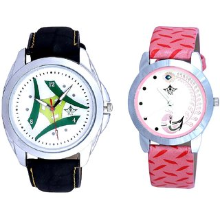 White Dial Latest Tri And Pink Peacock Feathers Girls Analogue Watch By SCK