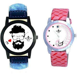 Handsome Men And Pink Peacock Feathers Girls Analogue Watch By SCK