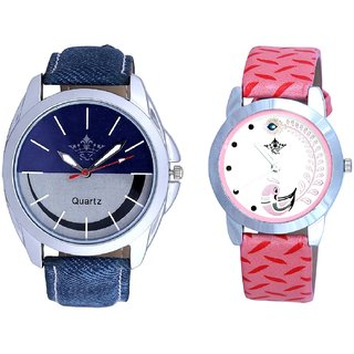 Silver-Blue Smiley Colour And Pink Peacock Feathers Girls Analogue Watch By SCK