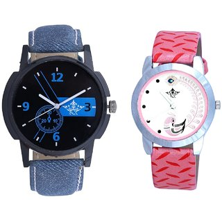Cronograph Blue Design And Pink Peacock Feathers Girls Analogue Watch By SCK